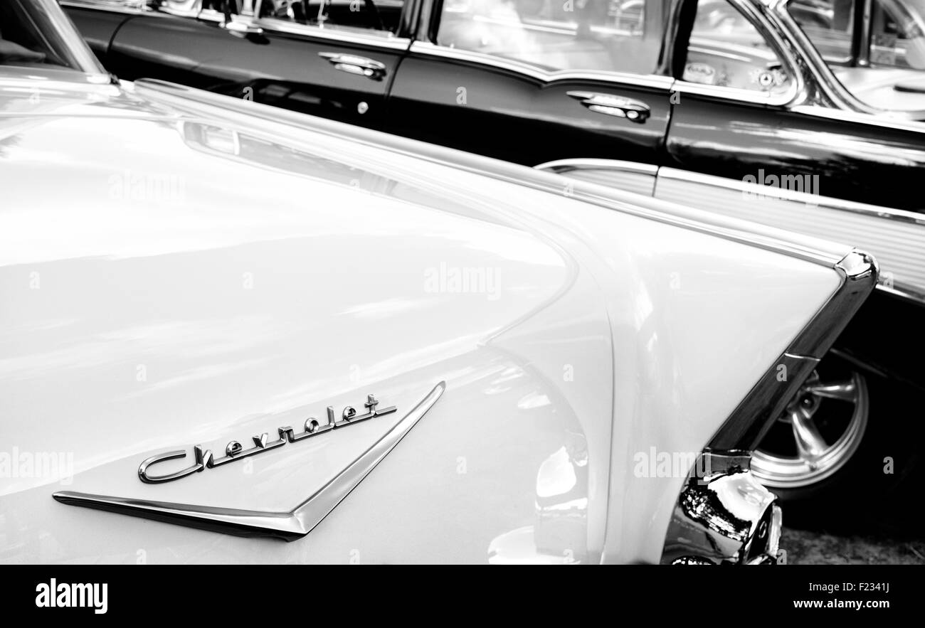 1957 Chevrolet Bel Air. Chevy. Classic American car. Black and White - Stock Image