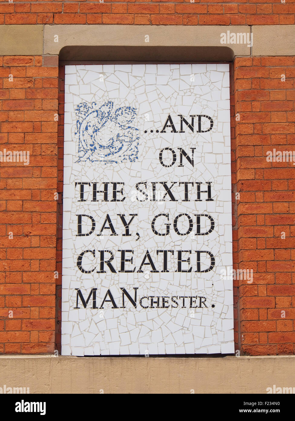 One of several mosaics on the walls of Afflecks Palace indoor market, Manchester, UK, by local artist Mark Kennedy. - Stock Image