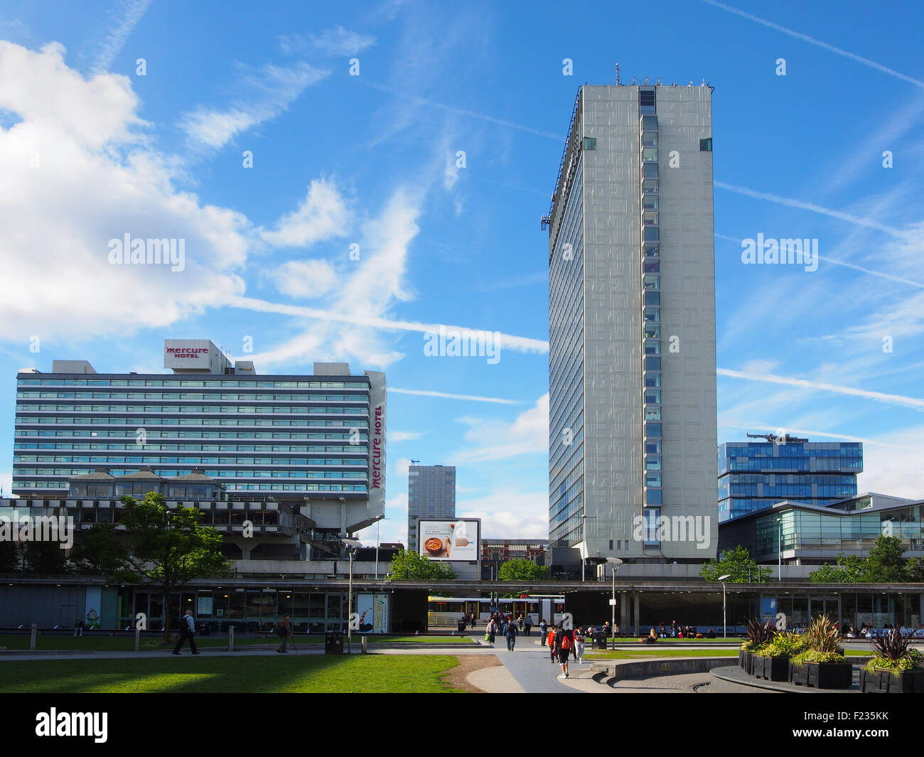 View of Piccadilly Gardens, Manchester, looking towards Piccadilly Plaza. - Stock Image