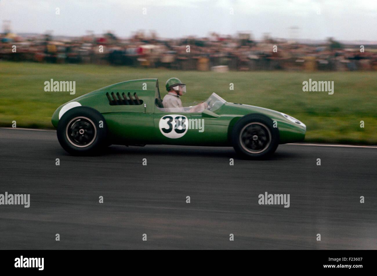 Rear engined Cooper BG Bristol 38 Bob Gerard at British GP meeting Aintree, 20th July 1957 - Stock Image