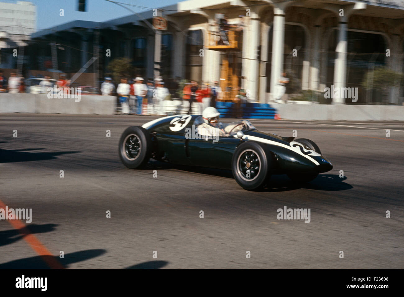 Jack Brabham in a Cooper Climax T51 in the historic inaugural US GP West at Long Beach 1977 - Stock Image