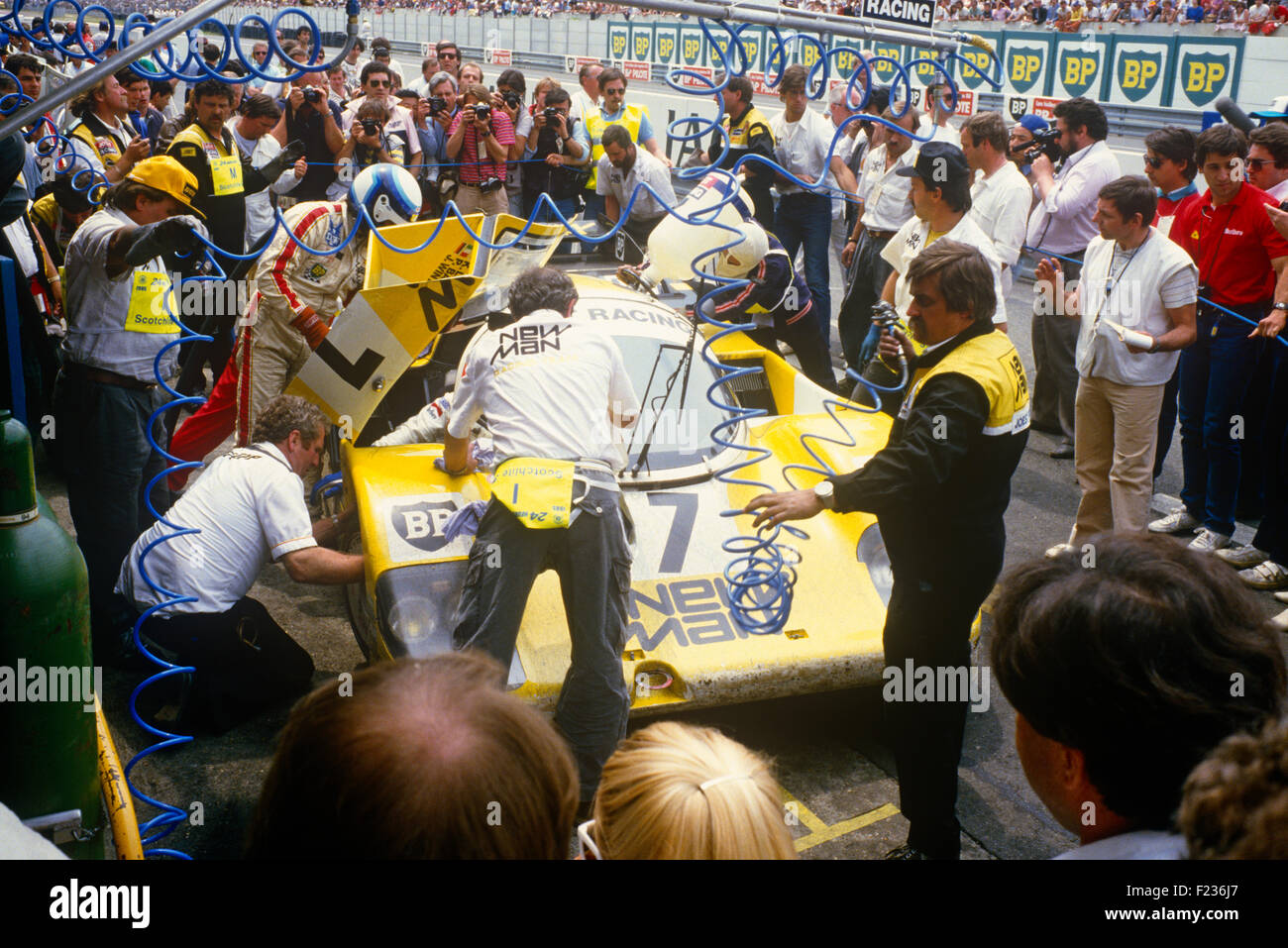 Klaus Ludwig, Paolo Barilla and John Winter Porsche 956, the race winner Le Mans 16th June 1985 - Stock Image