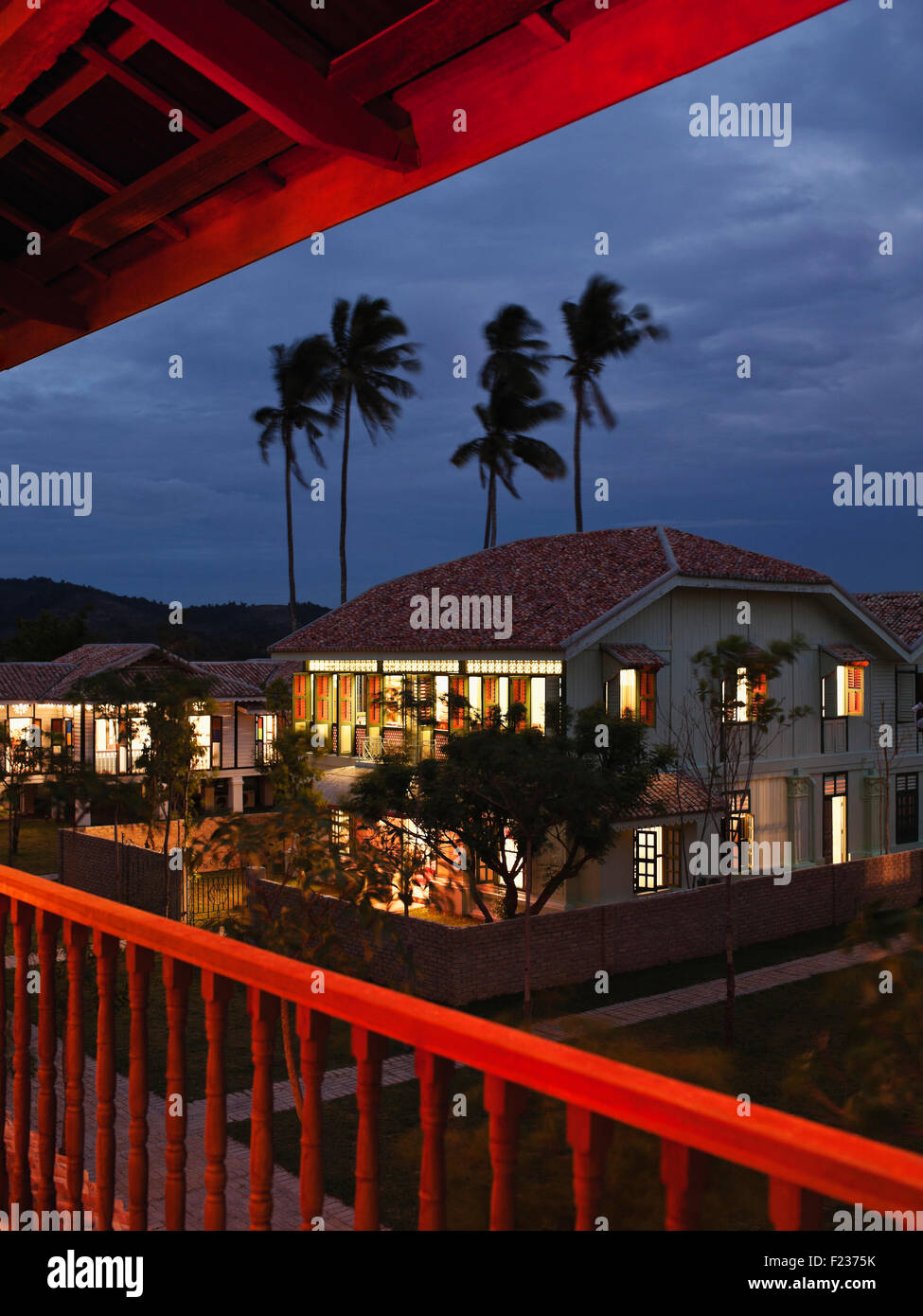 A dusk view across the property at Temple Tree at Bon Ton Resort. Langkawi, Malaysia. Antique buildings of Chinese, - Stock Image