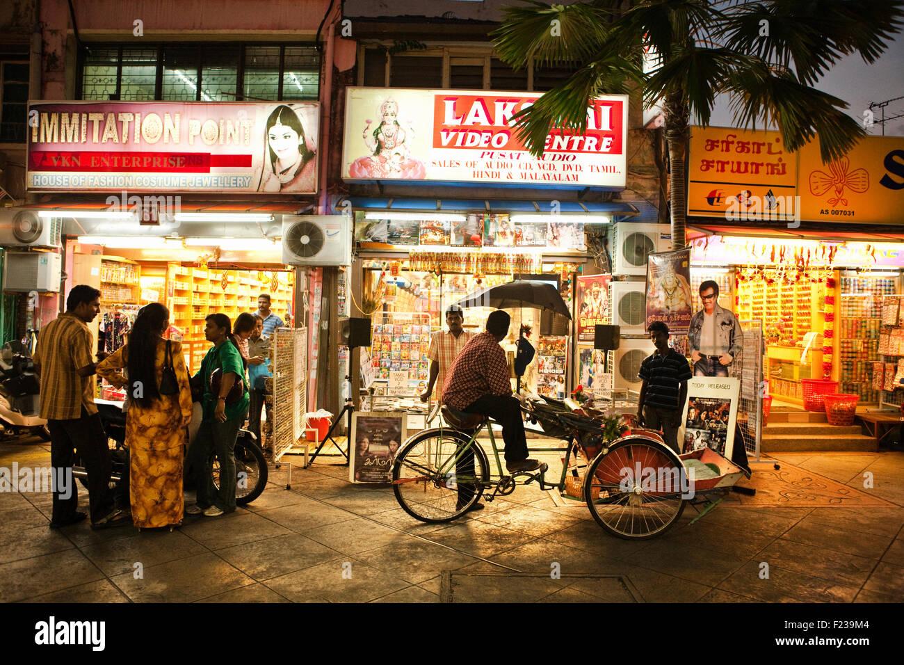 Little India at dusk.George Town, Penang, Malaysia - Stock Image