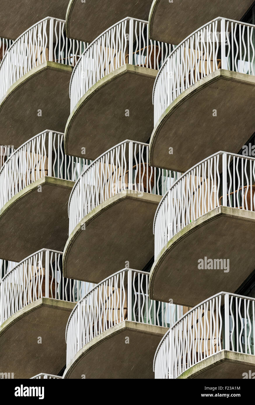Pattern of condo balconies on a hi-rise building. - Stock Image