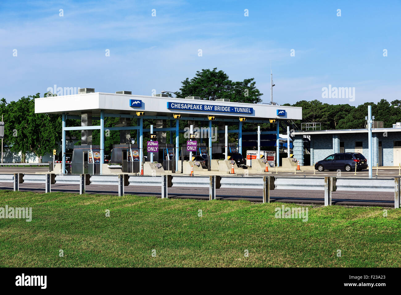 Chesapeake Bay Bridge Tunnel toll booth, Cape Charles, Virginia, USA - Stock Image