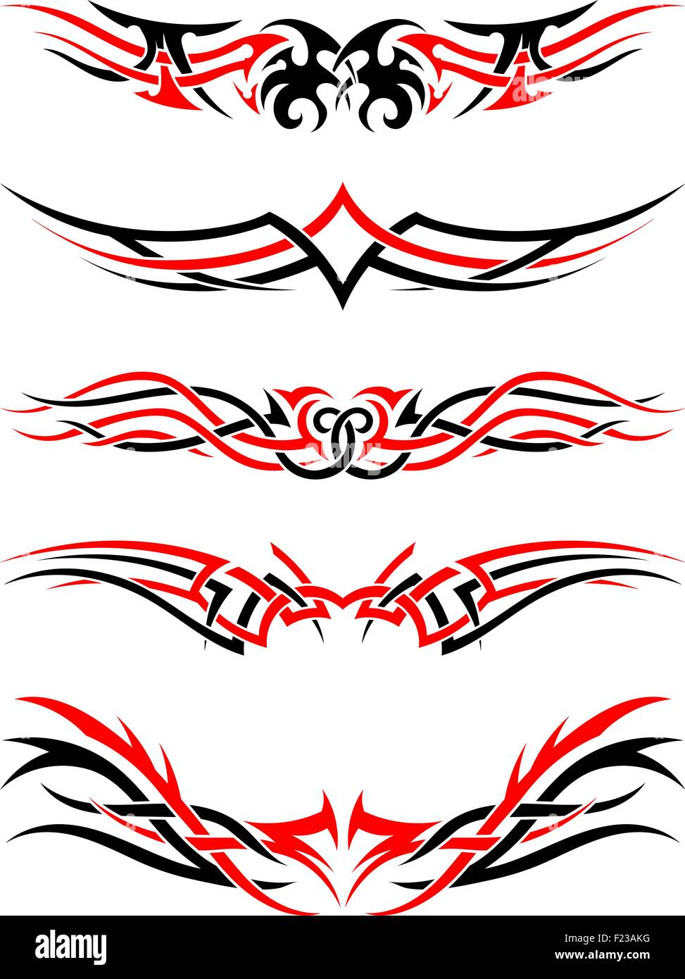 ff5f944726668 Set of Tribal Indigenous Tattoos in Black and Red Colors. Elegant Smooth  Design Over White Background. Vector Illustration.