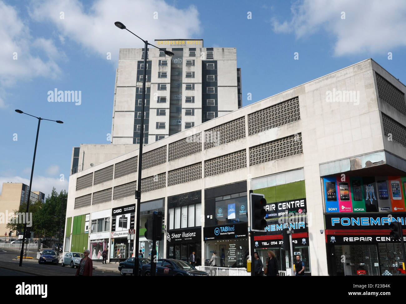 The former 'Grovesnor House' hotel in Sheffield, now demolished - Stock Image