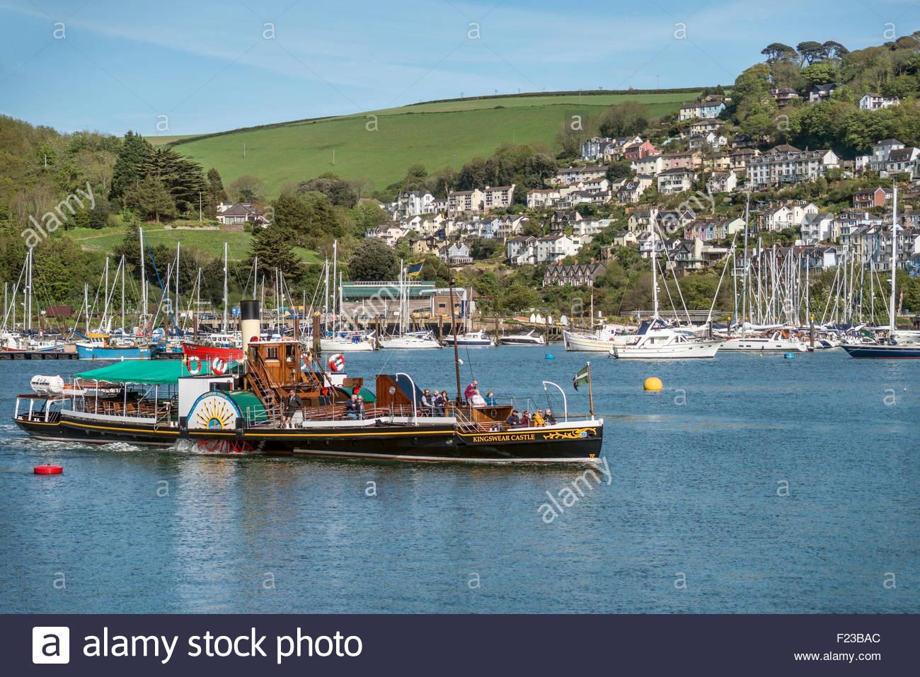 Kingswear castle paddle steamer at Dartmouth Harbor, Devon, England, UK | Schaufelraddampfer Kingswear Castle, Dartmouth - Stock Image