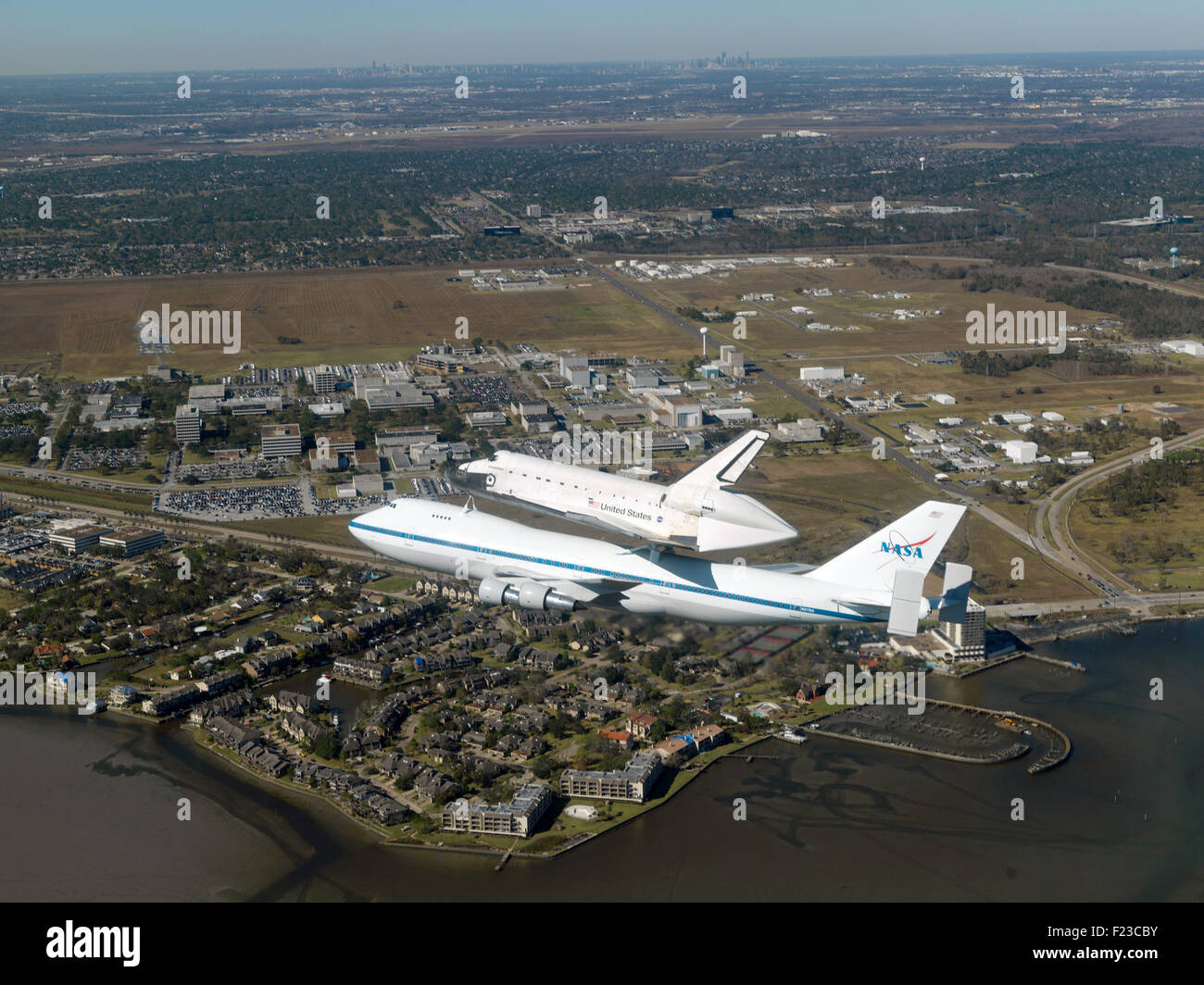 Space Shuttle Endeavour on a modified Boeing 747 shuttle carrier aircraft. Optimised version of a NASA image. Credit - Stock Image