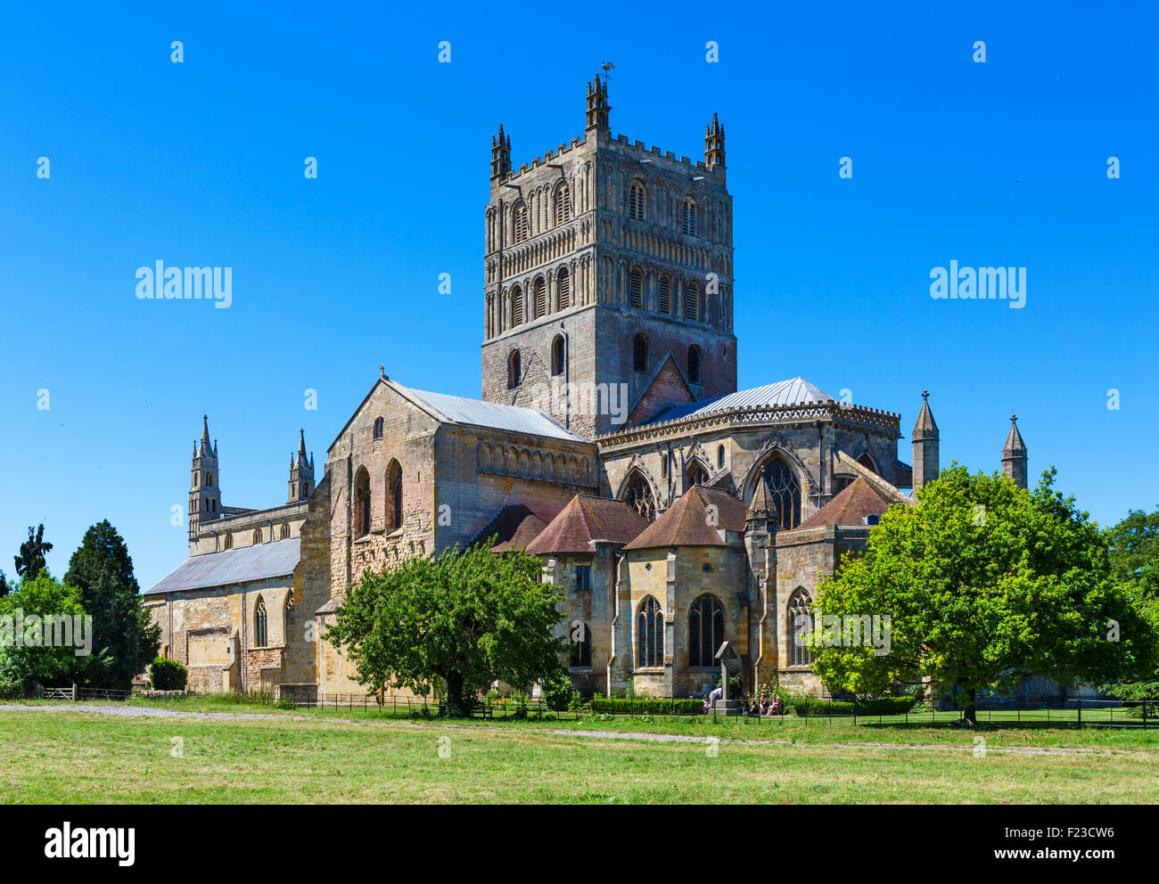 Tewkesbury Abbey or the Abbey Church of St Mary the Virgin, Tewkesbury, Gloucestershire, England, UK - Stock Image