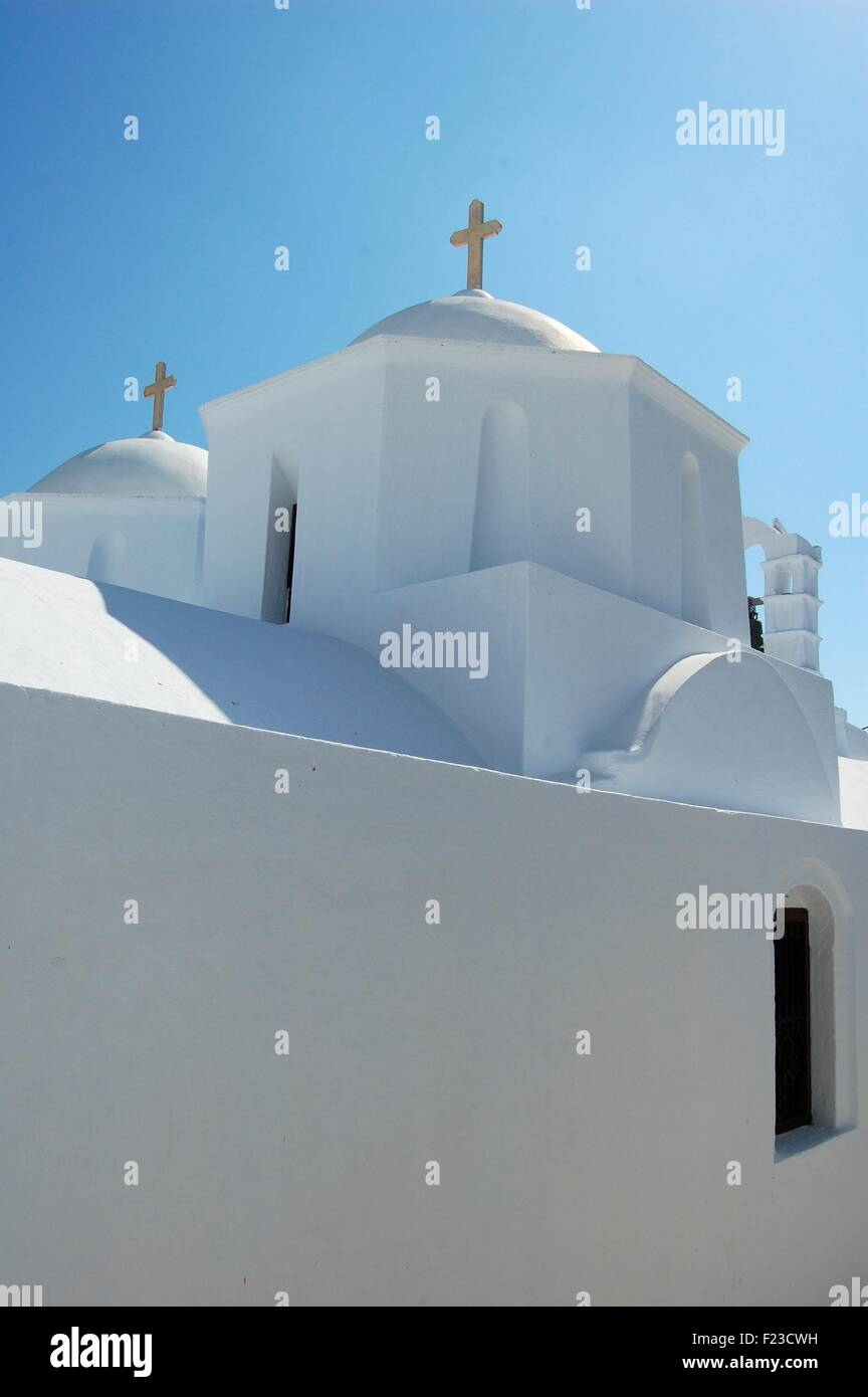 Church in the chora of the island of Amorgos, Greece - Stock Image