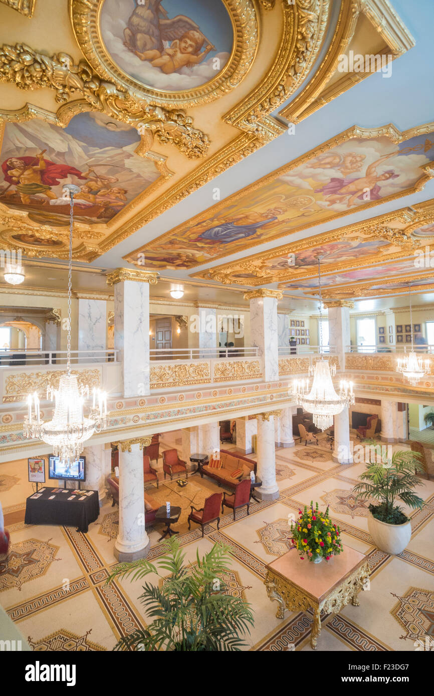 Lavish decor with 24K gold plated ceiling in the historic National Landmark of French Lick Resort, Indiana, USA - Stock Image
