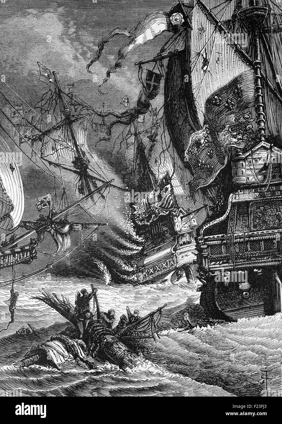 The defeat at the naval Battle of Gravelines in the English Channel off Flanders (Belgium) in September 1588, of - Stock Image