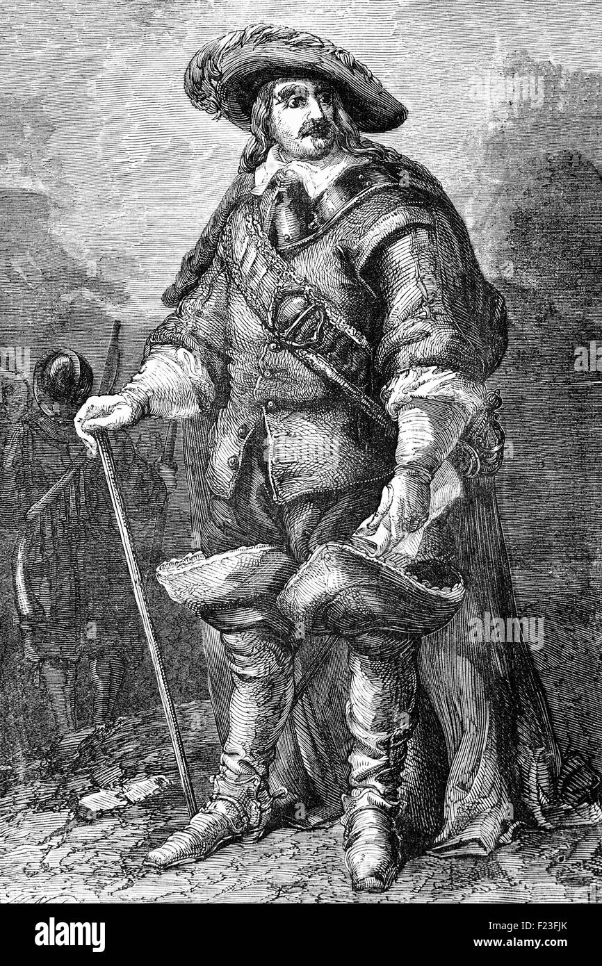 Oliver Cromwell (1599 – 1658) was an English military and political leader, sworn in as Lord Protector of Great - Stock Image