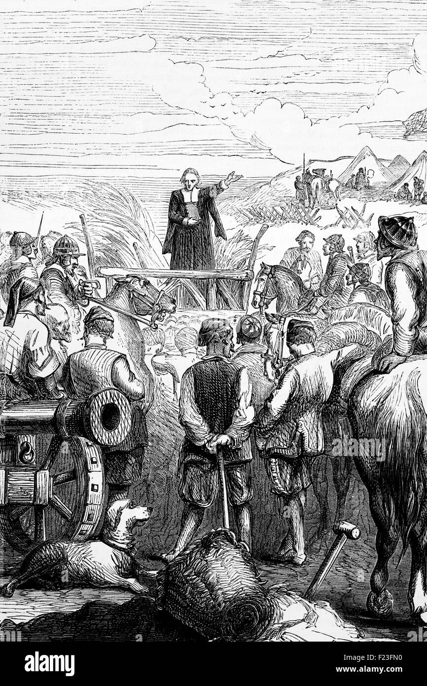 Protestant Service at a Puritan Camp during the English Civil War, 1643. - Stock Image