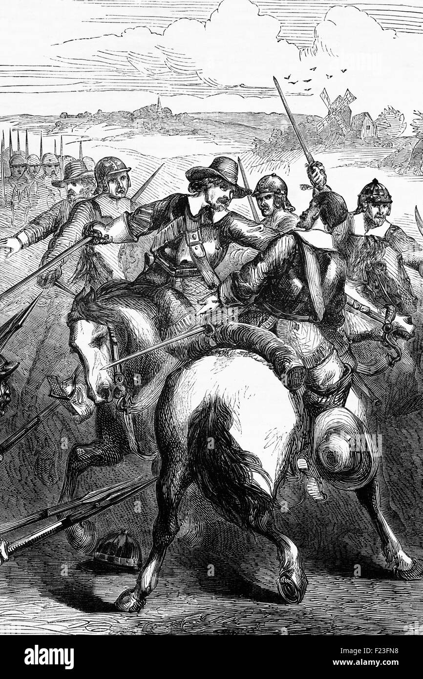 Cromwell suppressing the Banbury Mutiny over pay and political demands by soldiers in the English New Model Army. - Stock Image