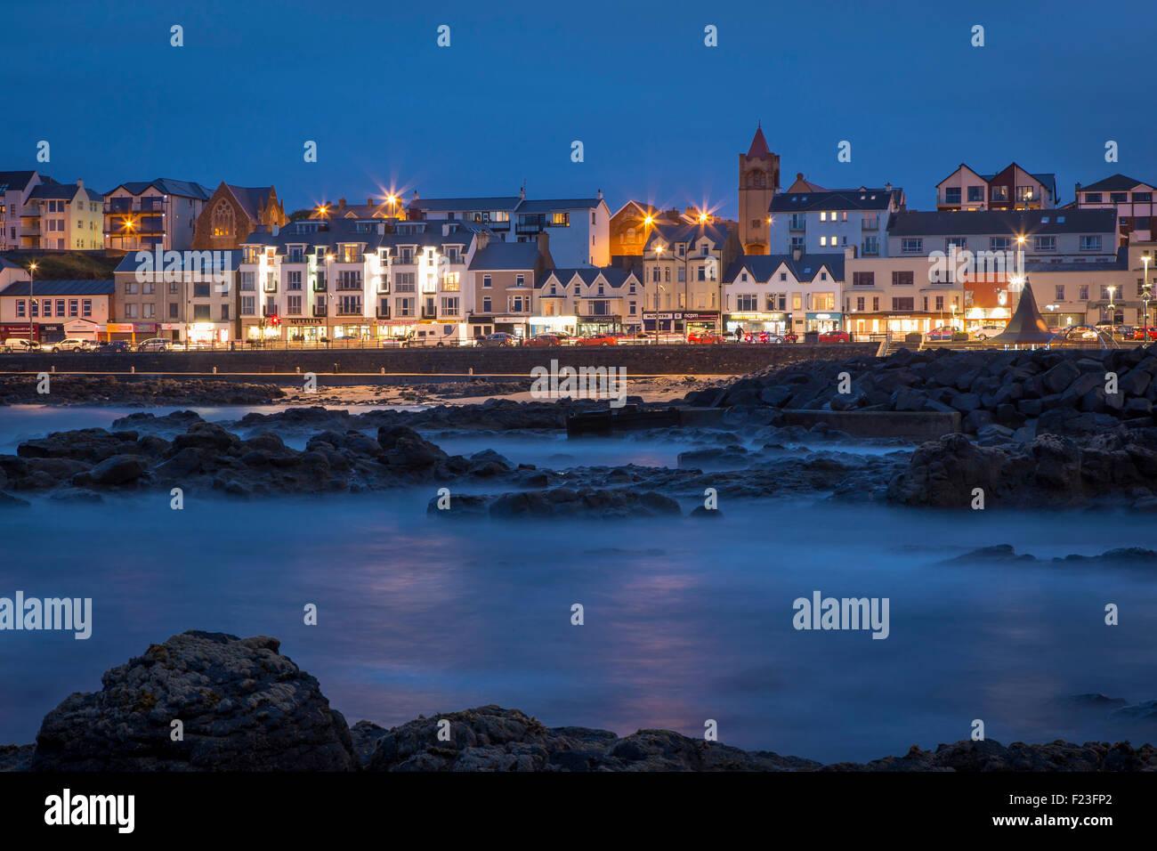 Twilight over Portstewart, County Antrim, Northern Ireland, UK - Stock Image