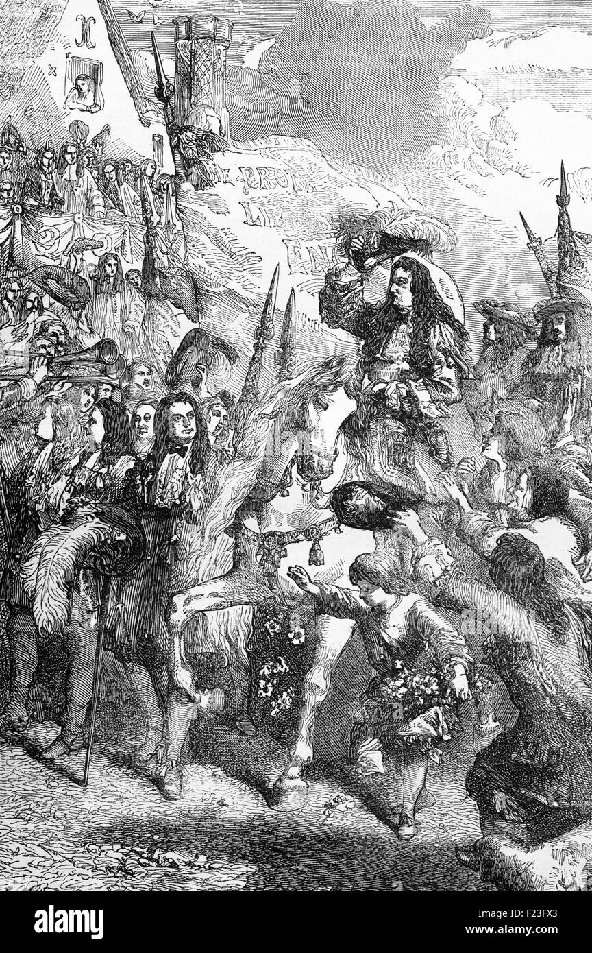 On the 9th of November 1688, William of Orange (William III), enters Exeter which became his base while he planned - Stock Image