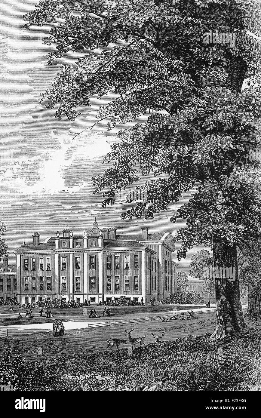 The original early 17th-century Kensington Palace in the Royal Borough of Kensington and Chelsea in London, England. Stock Photo