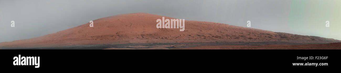Martian landscape. Mount Sharp Panorama. Curiosity Rover 2013. Credit NASA - Stock Image