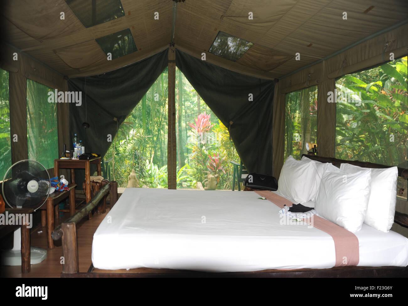 Luxury tented accommodation, Elephant Hills, Khao Sok National Park, Thailand - Stock Image