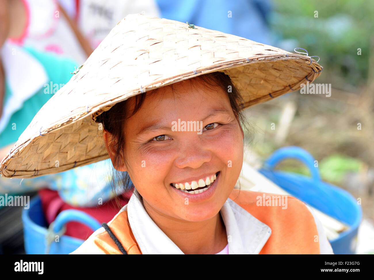 Lao woman at market, smiling. Luang Prabang, Laos Laotian - Stock Image