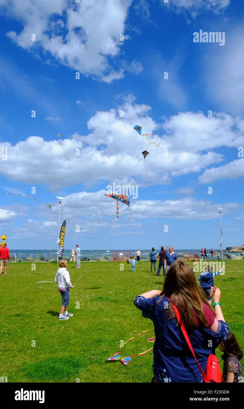 people flying kites summer sky - Stock Image
