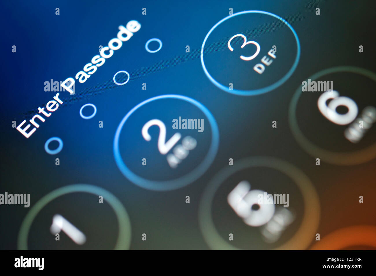 Enter Passcode. Touch screen lock screen requesting passcode. Stock Photo