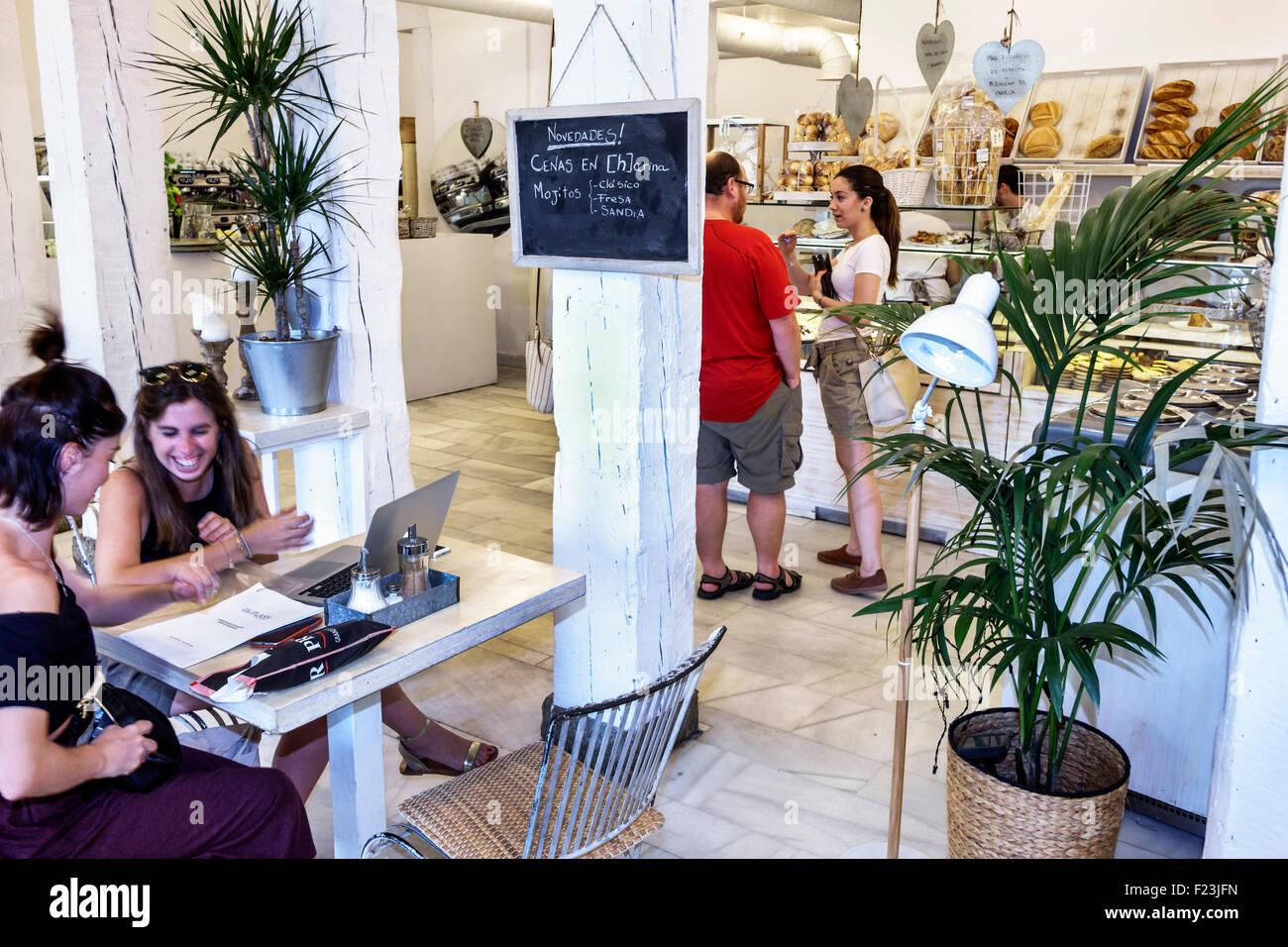 Madrid Spain Europe Spanish Retiro Plaza de la Independencia Harina [H]arina cafe bakery restaurant inside interior - Stock Image
