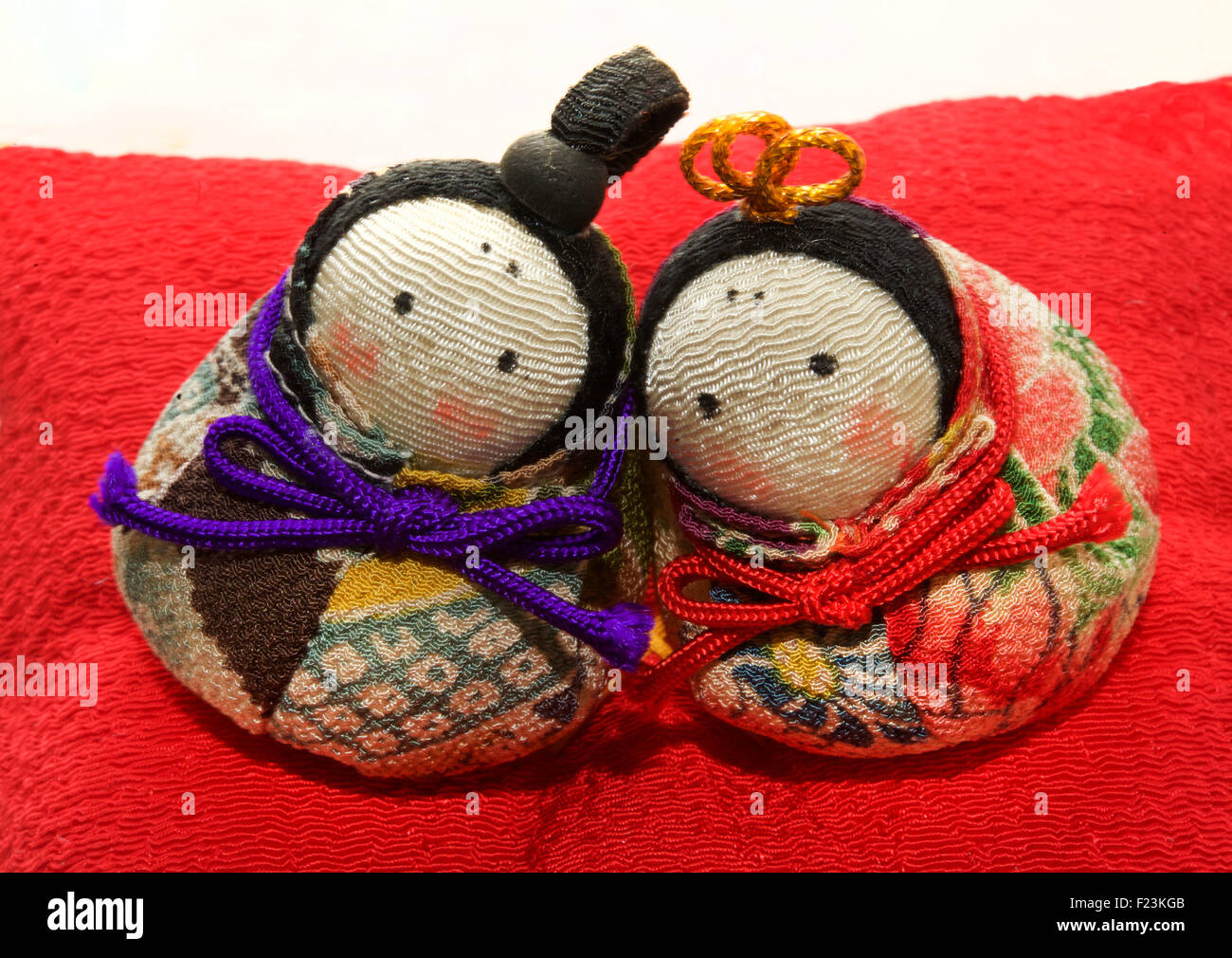 Small stylised Hina doll display for  Girls Day on March 3rd. Hina doll display. Japan - Stock Image