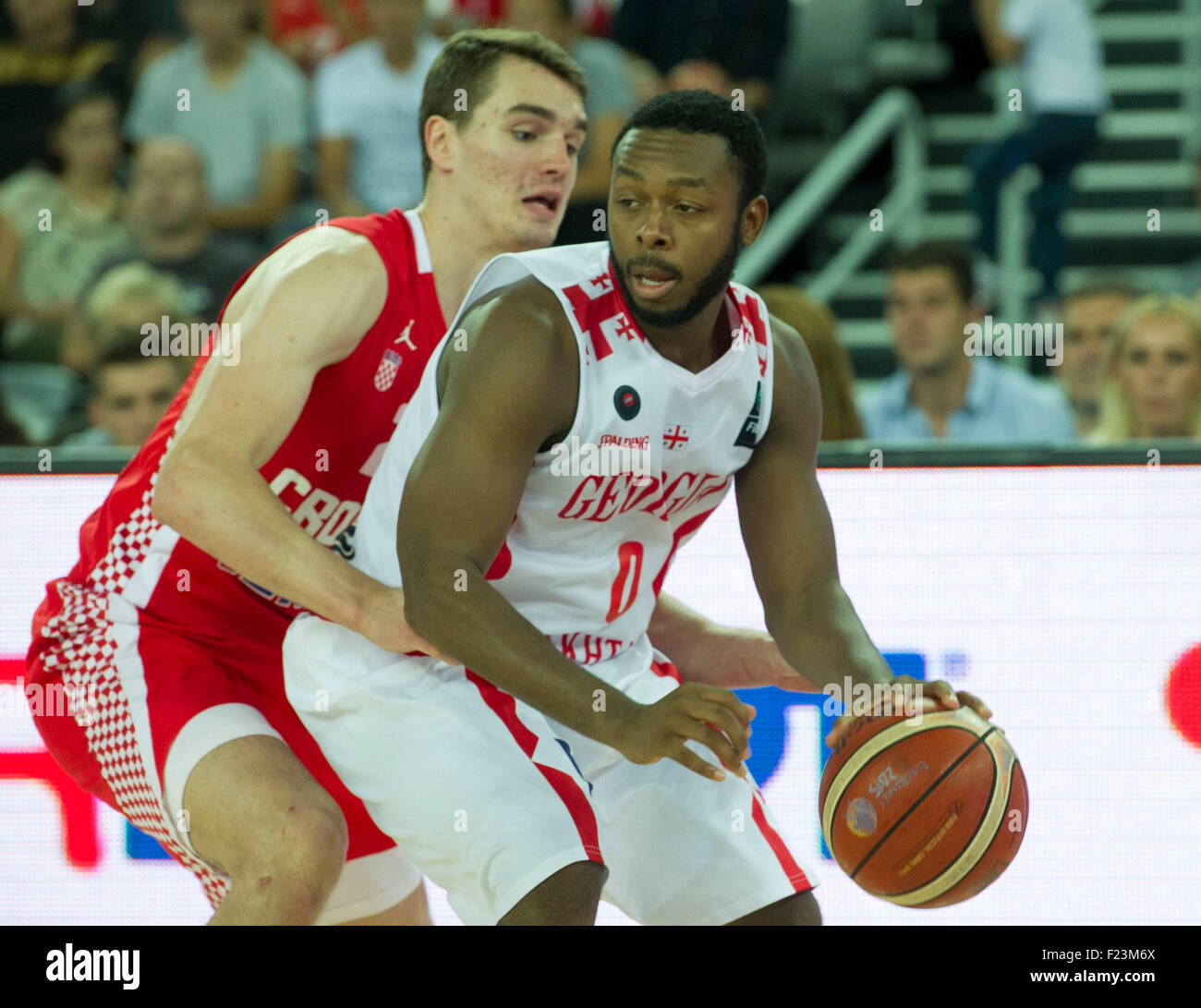 Zagreb, Croatia. 10th Sep, 2015. Jacob Pullen (R) of Georgia guards the ball against Mario Hezonja of Croatia during - Stock Image