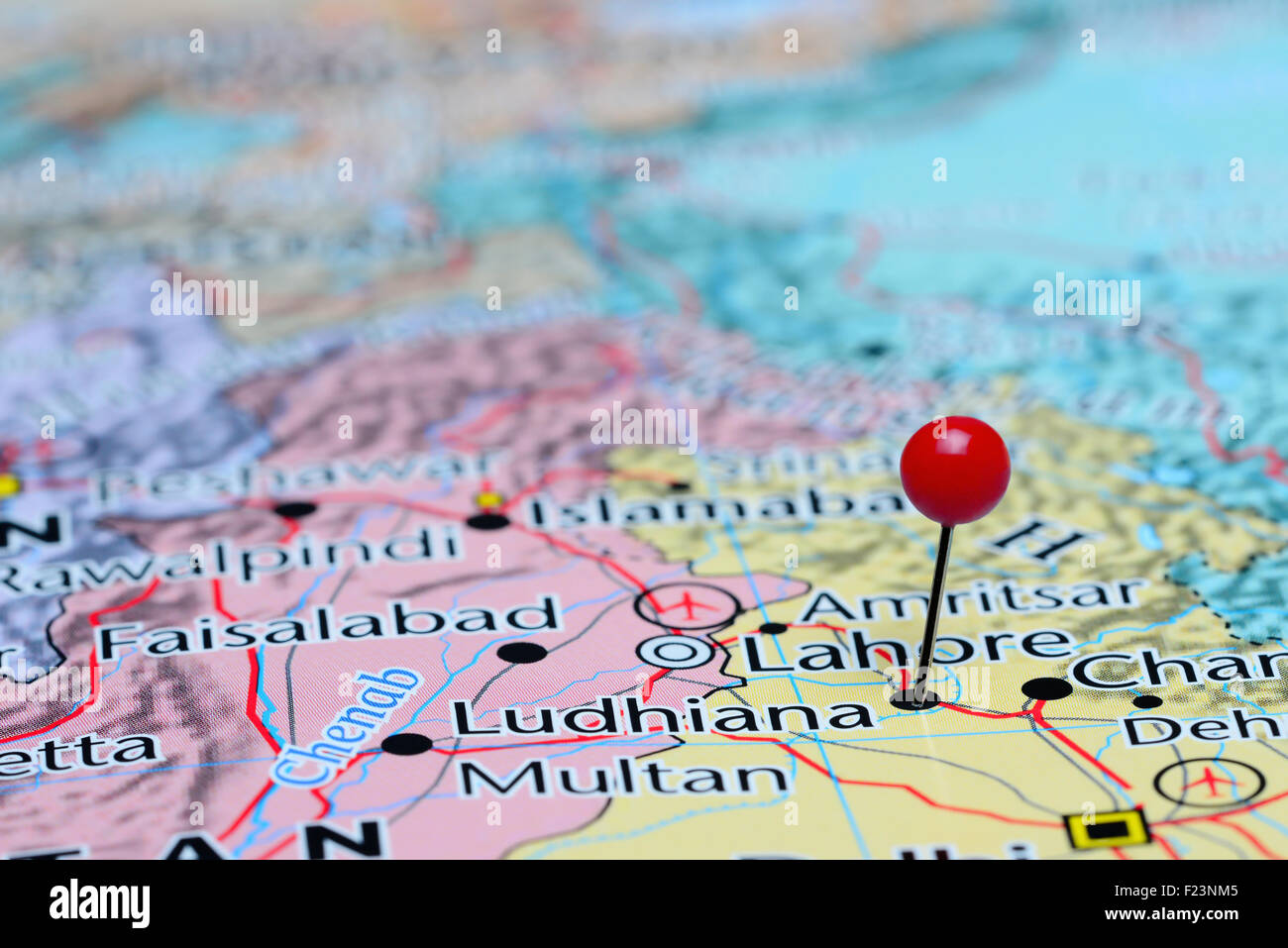 Ludhiana pinned on a map of Asia Stock Photo: 87364037 - Alamy