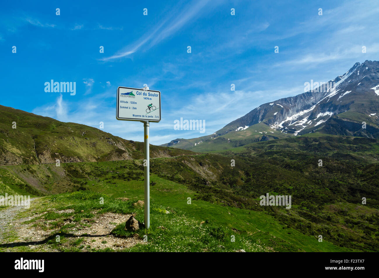 Climbing road to col du Soulor, Hautes Pyrenees, France Stock Photo