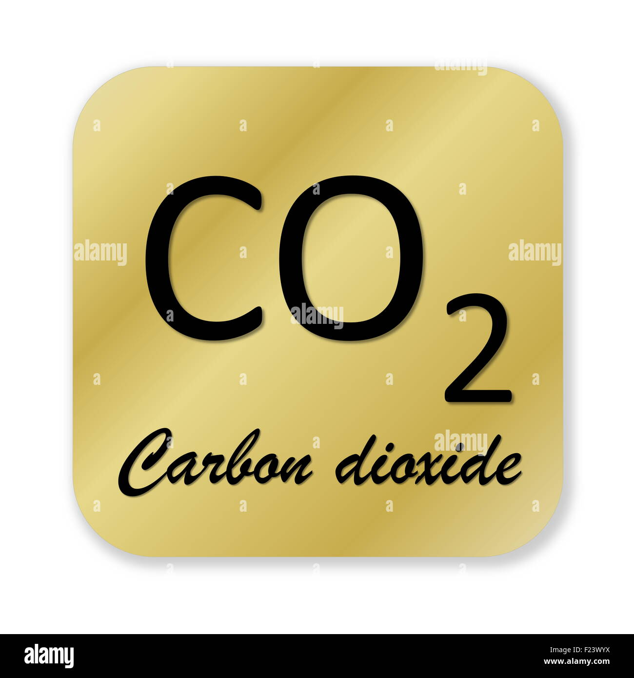 Golden Chemical Formula Of Carbon Dioxide Symbol Isolated In White