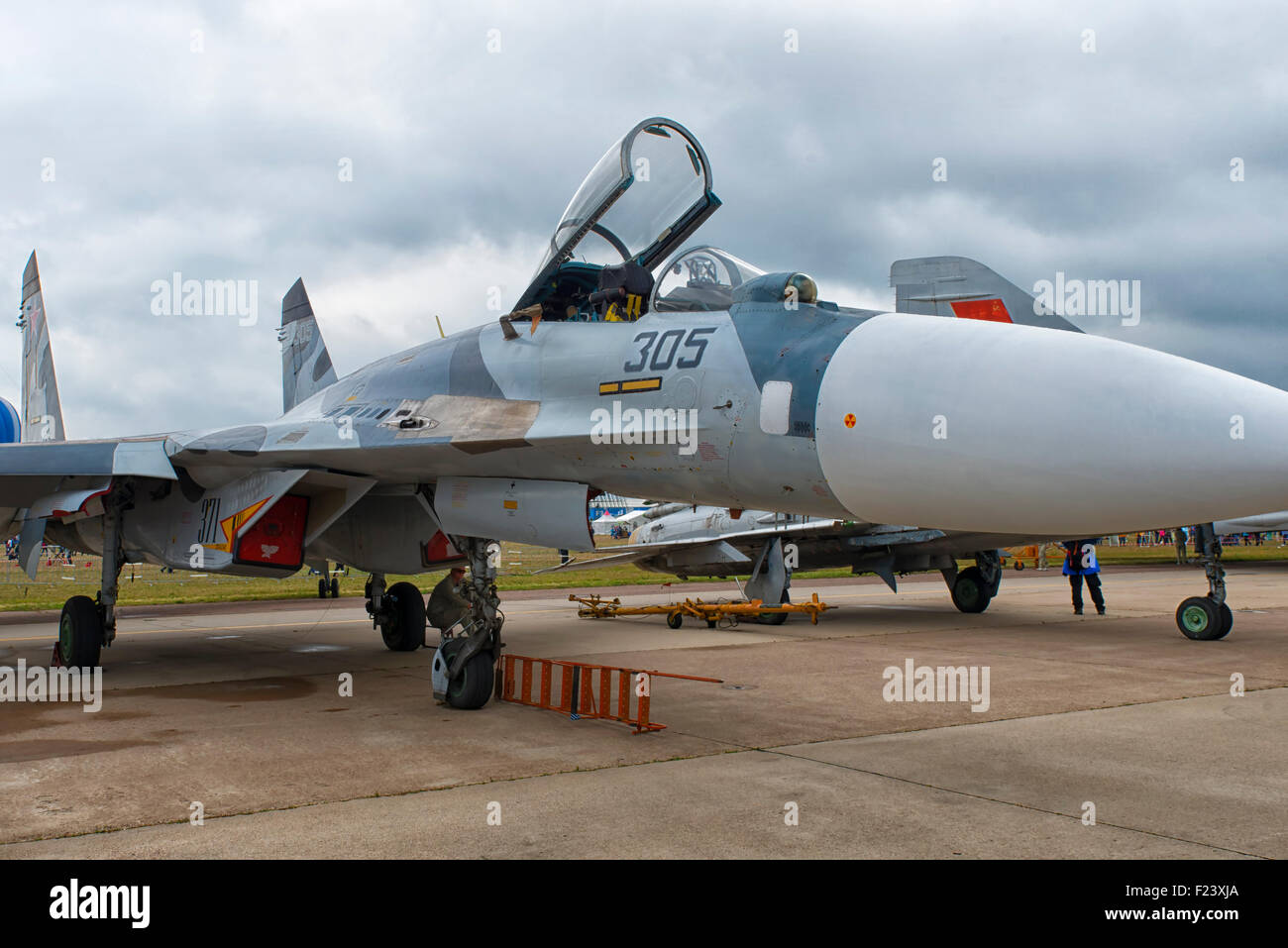 Sukhoi SU-27 Flanker at MAKS 2015 Air Show in Moscow, Russia - Stock Image