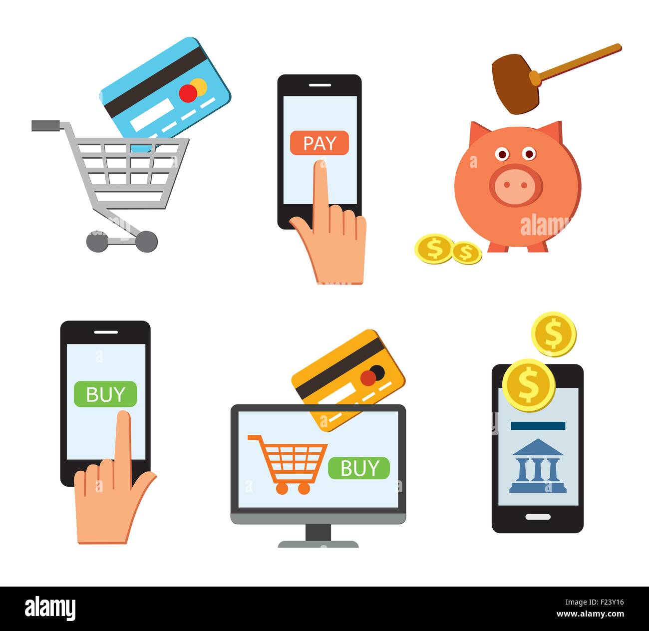 on line shopping, on line shop, on line banking, money vector, coins, piggy bank - Stock Vector