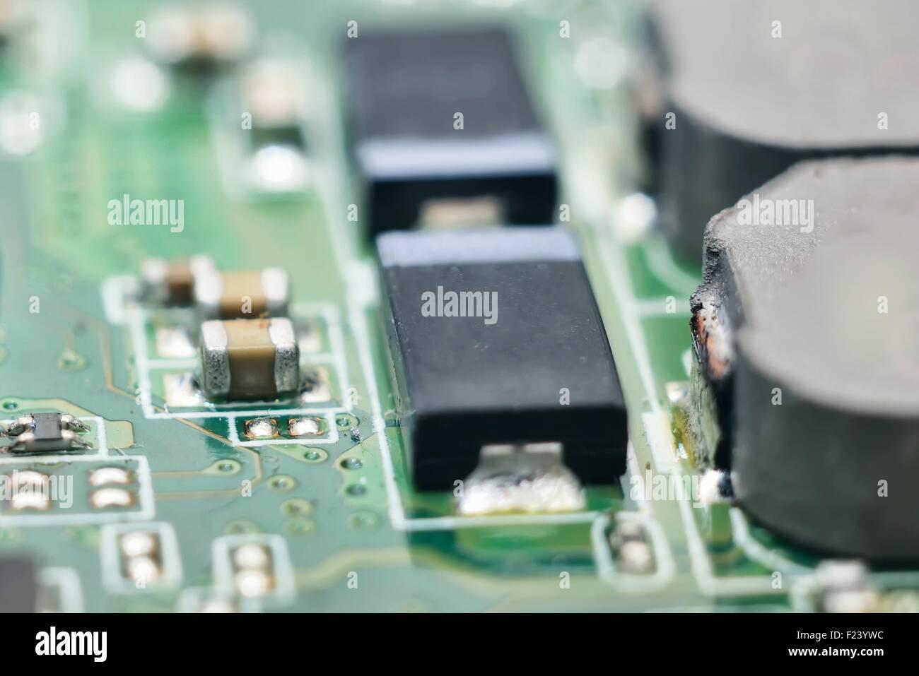 macro bright green computer hardware background - Stock Image