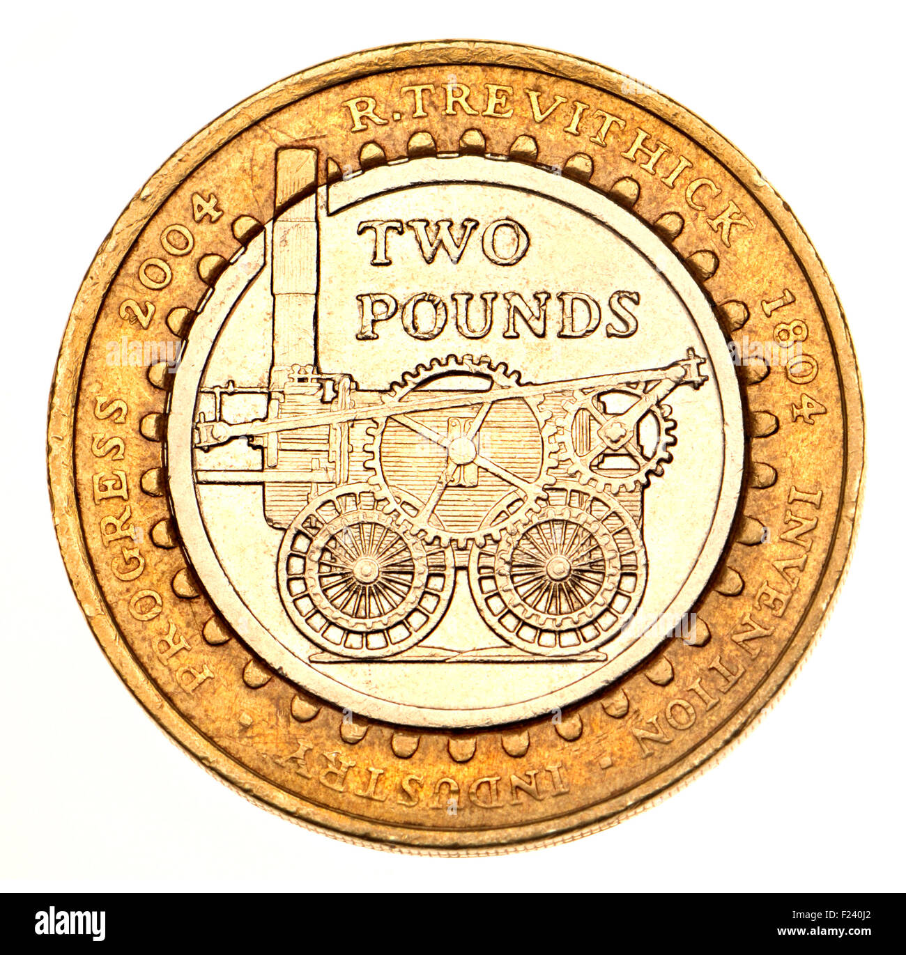 British commemorative £2 coin (2004) celebrating the 200th Anniversary of the first steam locomotive by Richard - Stock Image
