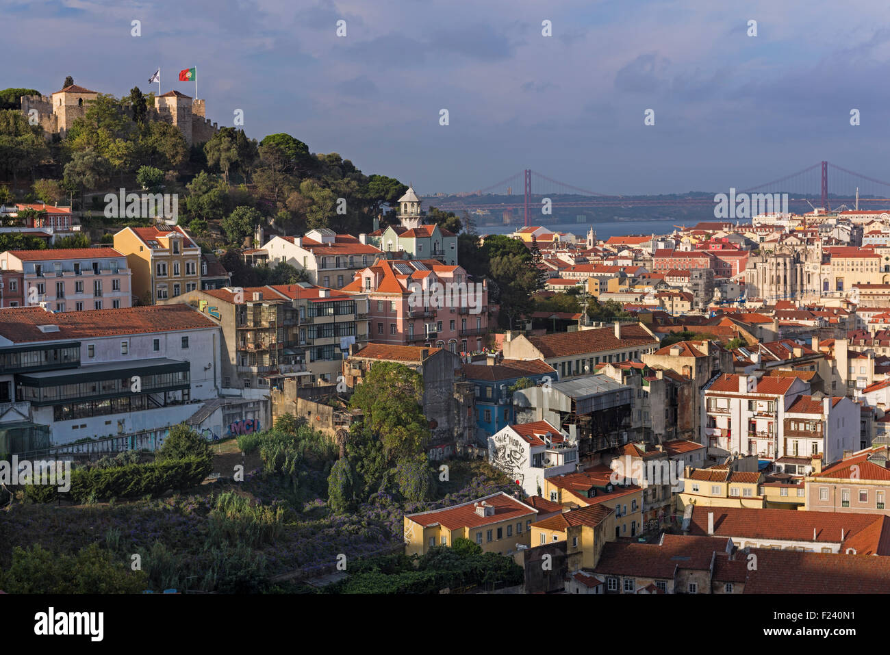 City view to Castle and bridge Lisbon Portugal - Stock Image