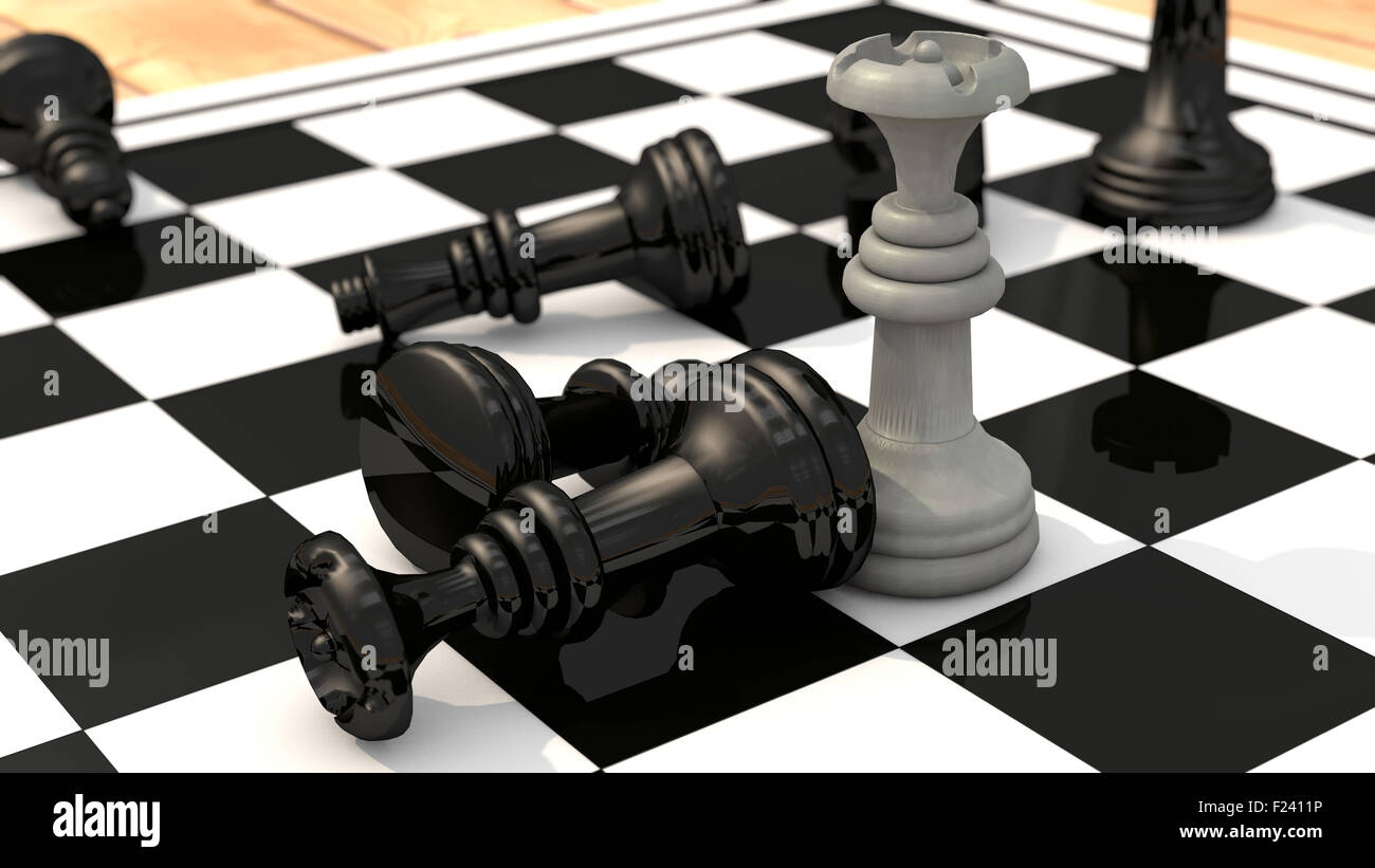 Chess queen wins - Stock Image