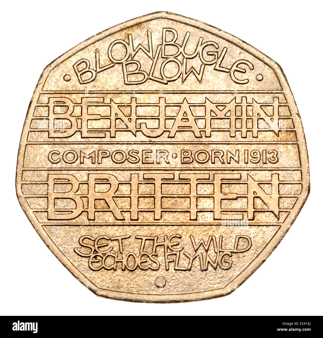 British 50p coin (2013) marking the 100th Anniversary of the Birth of Benjamin Britten, composer - Stock Image