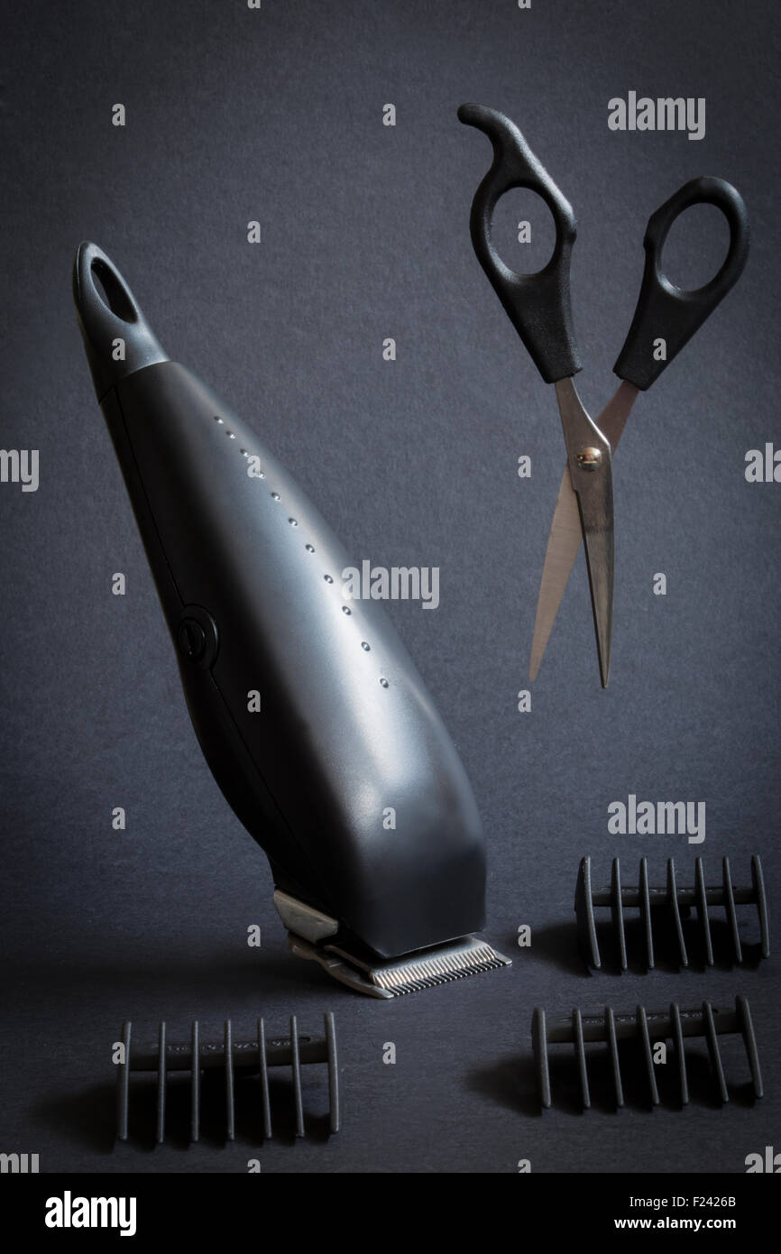 cuts hair and scissor - Stock Image