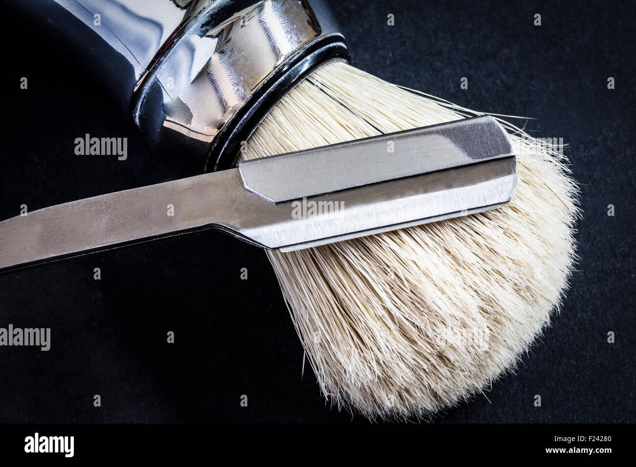 razor and shaving brush - Stock Image