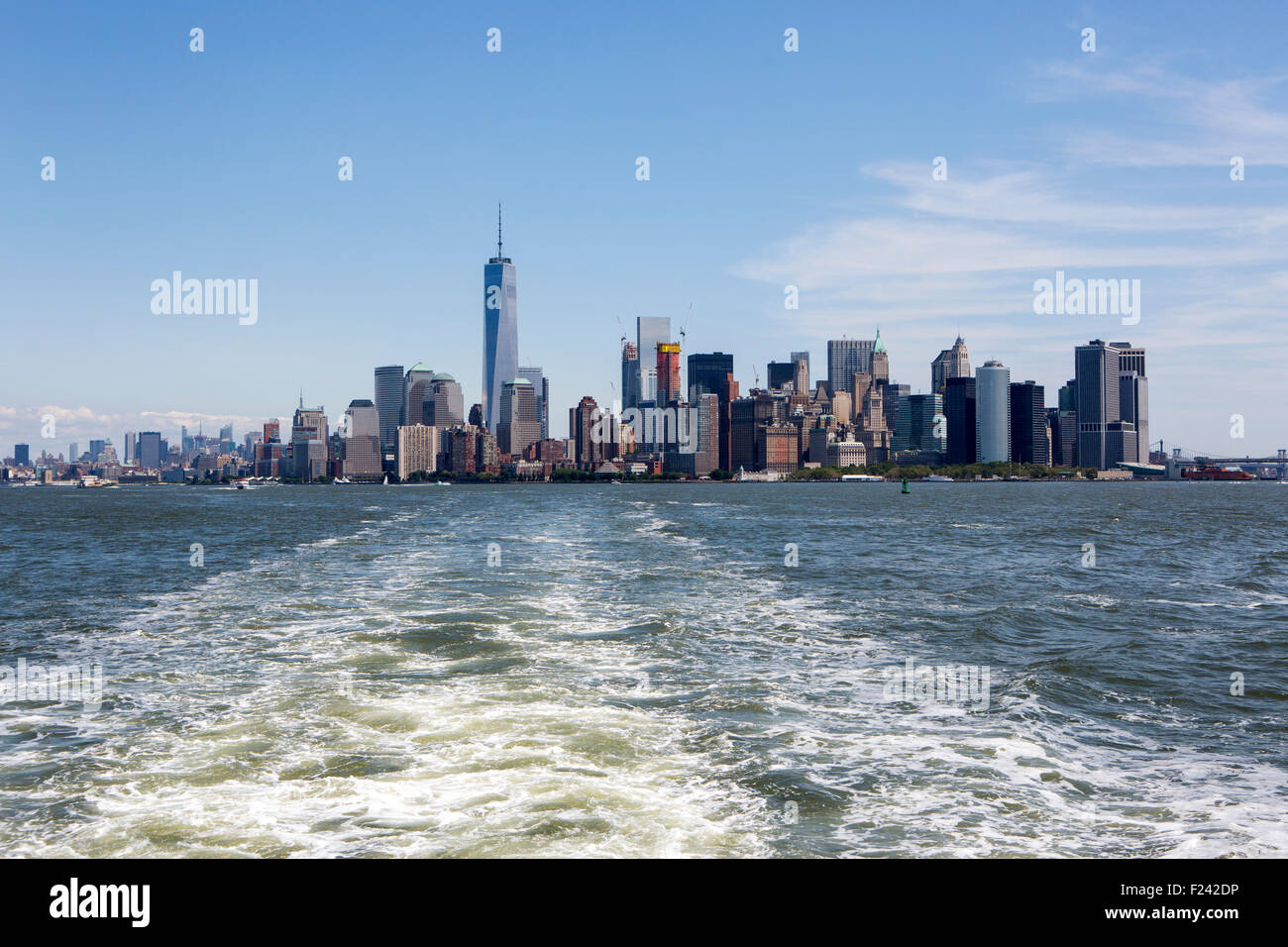 Manhattan sky line shot from the Staten Island ferry - Stock Image