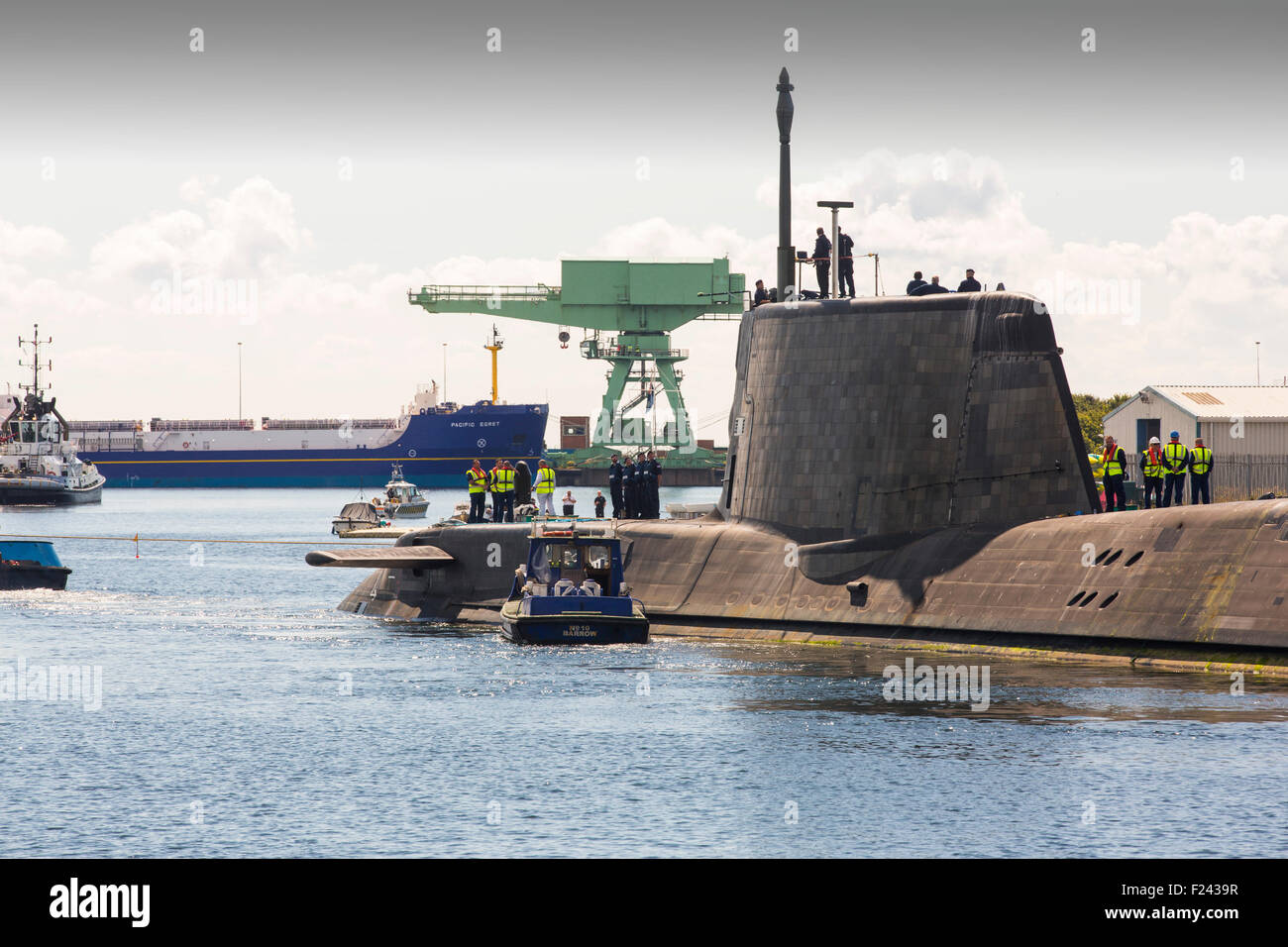 The Artful an Astute class hunter killer nuclear powered submarine is moved from BAE Systems in Barrow in Furness - Stock Image