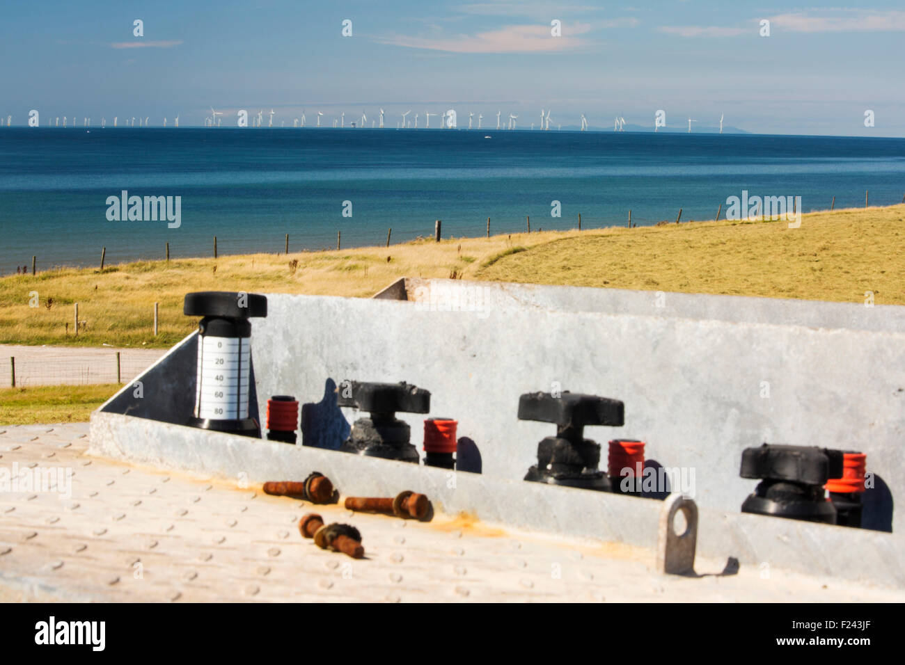 A methane capturing facility, tapping into methane from an old landfill site on Walney island, Cumbria, UK, with - Stock Image
