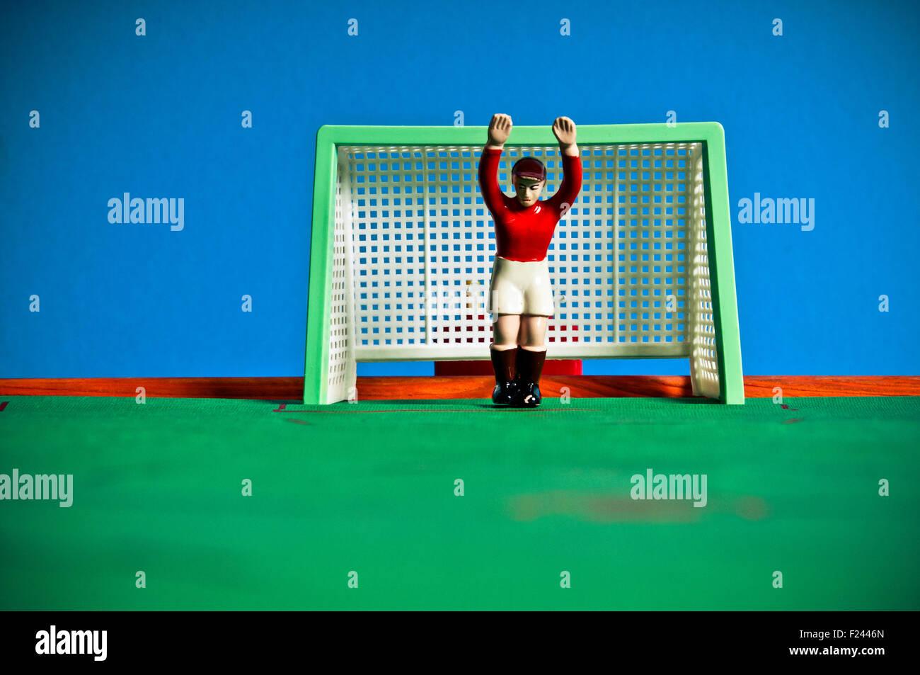 vintage football goalkeeper toy - Stock Image