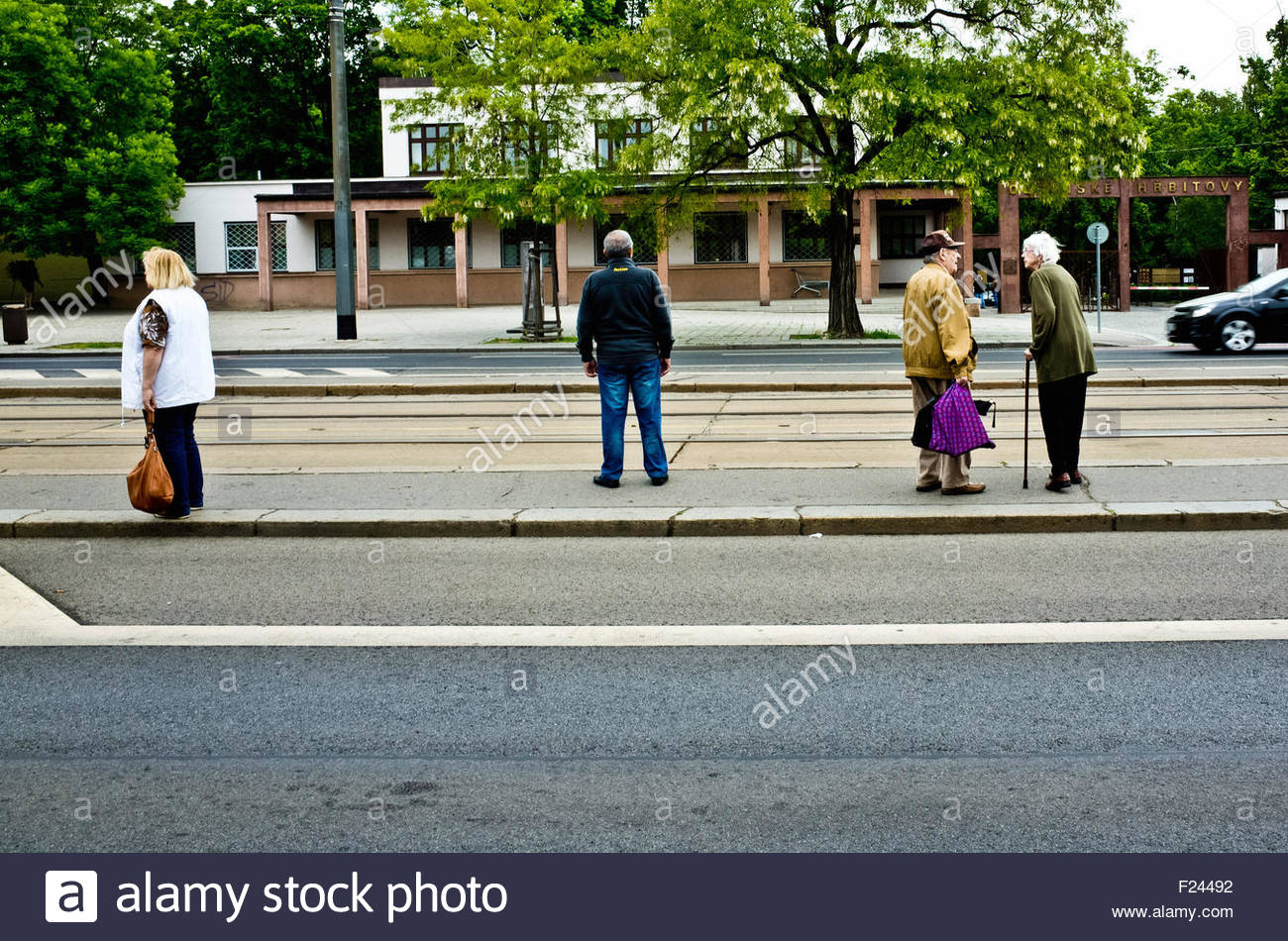 people waiting the city tramway - Stock Image