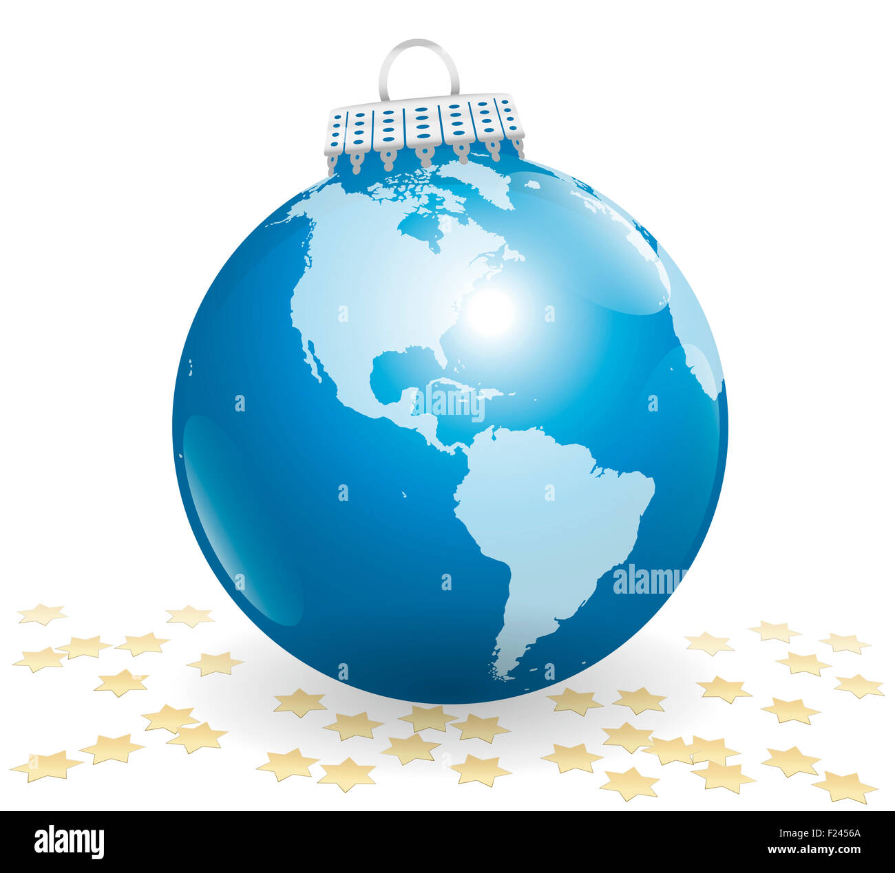 Xmas tree ball - planet earth - american point of view - with many golden glitter stars. Illustration on white background. - Stock Image